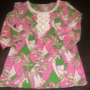 Lilly Pulitzer floral knit button blouse Xs